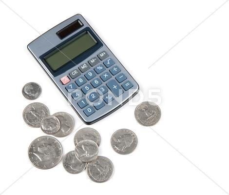 Stock photo of Calculator and coins