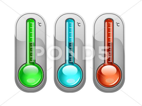 Stock Illustration of Three color thermometer, illustration