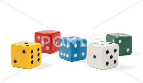 Stock photo of Colorful dices on white background