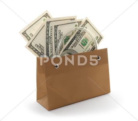 Stock photo of Money in a gift bag