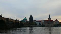 Charles bridge in Prague at noon time - stock footage