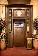 old elevator door - stock photo