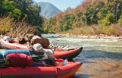 Kayak on waters edge Stock Photos