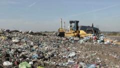 Garbage Landfill, dump. Bulldozer at landfill (3) Stock Footage