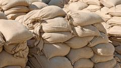 Sandbags in pile Stock Photos