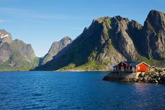 house by fjord - stock photo