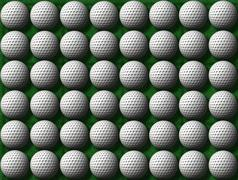Rows of golf balls Stock Illustration