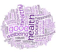 good health and wellbeing tag cloud - stock illustration