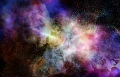 outer space cloud nebula and stars - stock illustration