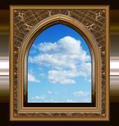 Gothic tai scifi-ikkuna, sininen taivas Kuvituskuvat