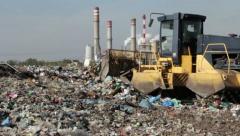 Garbage Landfill, dump. Bulldozer at garbage landfill (1) Stock Footage