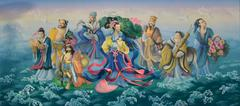 Gods of chinese. art painting colorful on the wall Stock Illustration