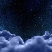 space or night sky through clouds - stock illustration