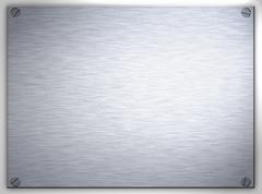 brushed steel metal plaque - stock photo