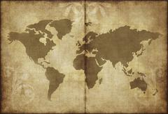 Old world map parchment paper Stock Illustration