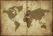 Stock Illustration of old world map parchment paper