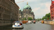 Stock Video Footage of Berlin Cathedral, Berliner Dom, Spree river, Germany