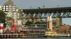 Ferry passes Luna Park, Sydney Stock Footage