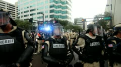 Occupy RNC - Police Barricade 2 Stock Footage