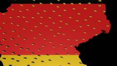 Zooming out from Germany map flag with population animation Stock Footage