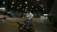 Bmx closeup set of tricks in skatepark Stock Footage