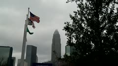 Charlotte, NC Flags in wind WIDE - stock footage