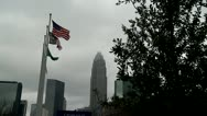 Stock Video Footage of Charlotte, NC Flags in wind WIDE