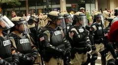 Occupy RNC - Police Barricade 1 Stock Footage