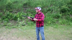 Lever action .22 rifle being fired Stock Footage