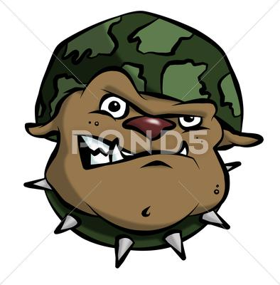Stock Illustration of cartoon army bulldog