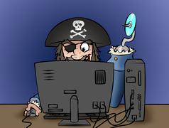 Computer pirate Stock Illustration
