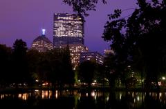 Stock Photo of Boston Commons Park at Night