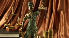 Antique statue of justice, law Stock Footage