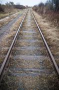 Symmetrical Train Track - stock photo