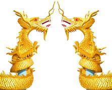 Two golden dragon Stock Photos