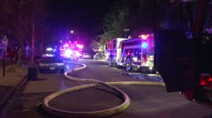 Wide shot of fire  apparatus Stock Footage