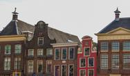 Old step gable roofs in groningen, the netherlands Stock Photos