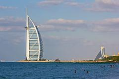 A general view of the world's first seven stars luxury hotel burj al arab Stock Photos