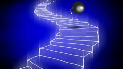 The bomb goes down the staircase. Stock Footage