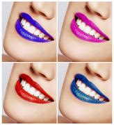 Smiling woman mouth with great teeth. Color Lips - stock photo