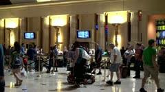 Crowd of tourists at lobby Luxor Las Vegas hotel & casino. Stock Footage