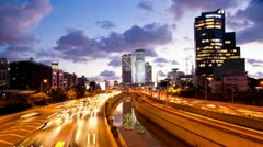 Traffic Time Lapse - Ayalon Freeway Stock Footage