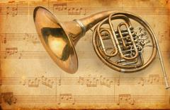 French horn. grunge musical background Stock Illustration