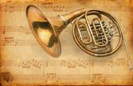 French horn. grunge musical background Stock Illustration