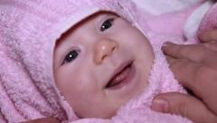 Baby Wrapped in a Towel Stock Footage