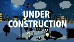 Construction Site Cartoon (Night with Text) Stock Footage