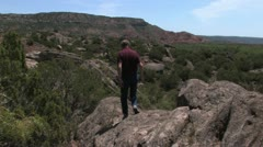 Hiker 2 in Palo Duro Canyon, Texas Stock Footage