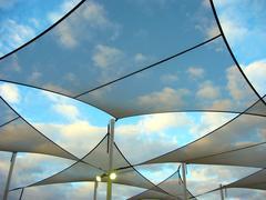 shade sails and lights - stock photo