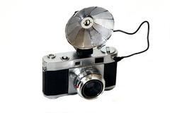 old camera on white - stock photo