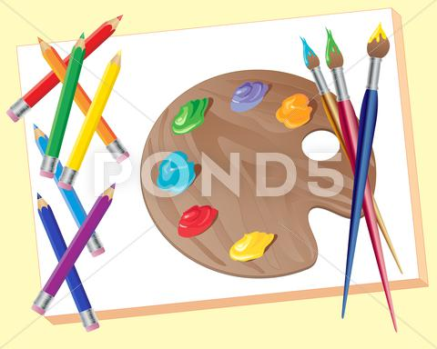 Stock Illustration of artists materials